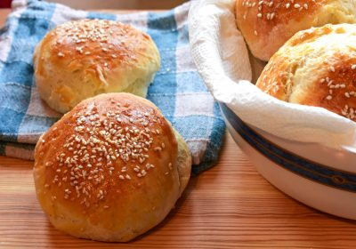 closeup still life food photography/ Homemade bread whit sesame at wooden background